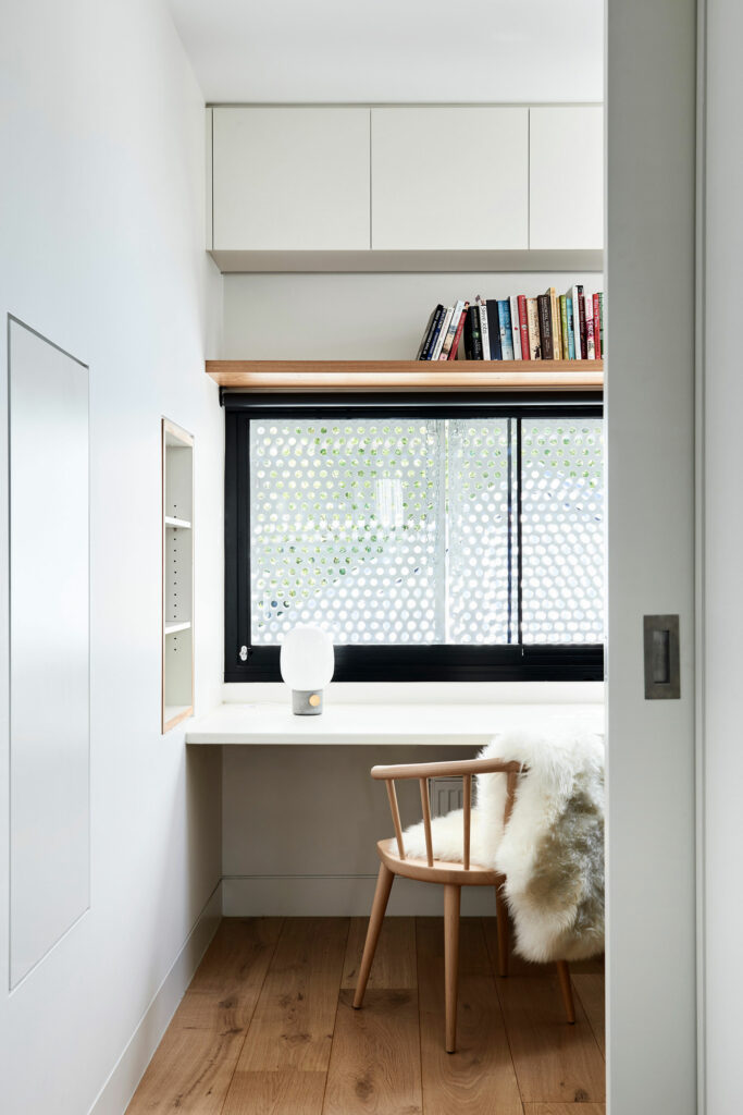 Maike Design study nook with timber chair and lamp