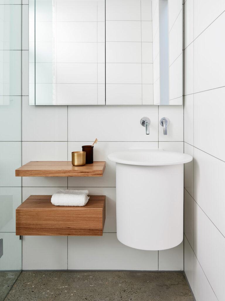 Maike Design bathroom wall hung basin and timber storage