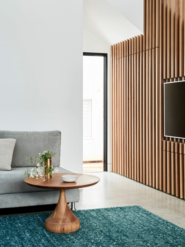 Maike Design batten wall with concealed laundry door