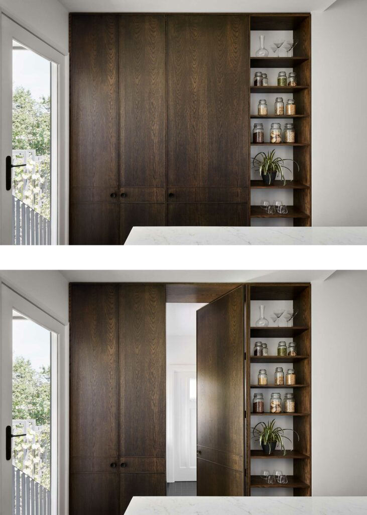 Maike Design concealed timber door through to laundry. Open timber shelves and marble benchtop