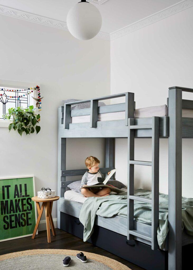 Maike Design children's bedroom. Bunkbed, artwork and toys.