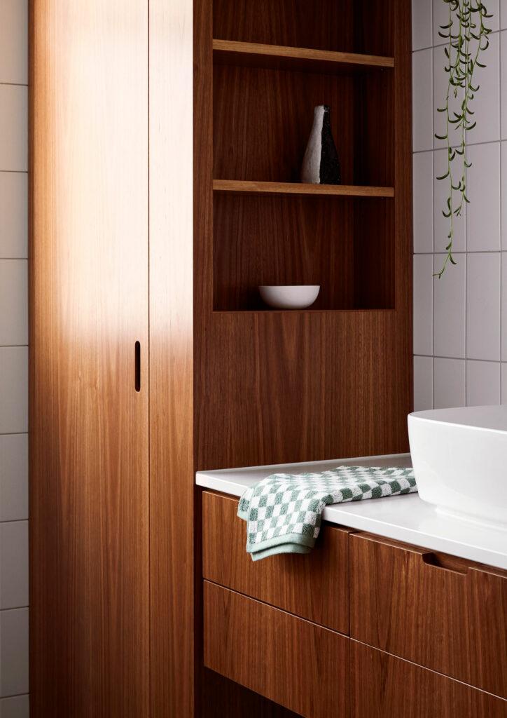 Maike Design bathroom. Timber joinery detail, white ceramics