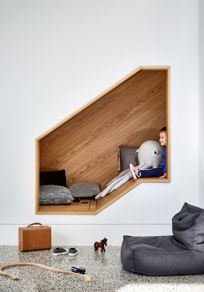 Maike Design play nook. Timber joinery, polished concrete floors. Fun design.